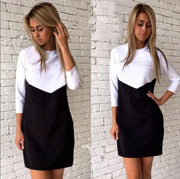 Splicing Contrast Color Scoop Neck Half Sleeves Short Dress