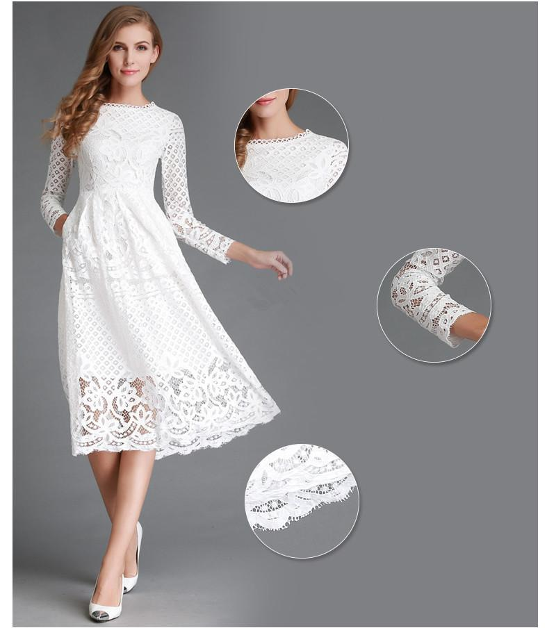 Solid Color Long Sleeves Scoop Knee-length Lace Dress