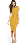 Scoop Split Sleeveless Pencil Knee-length Elastic Dress