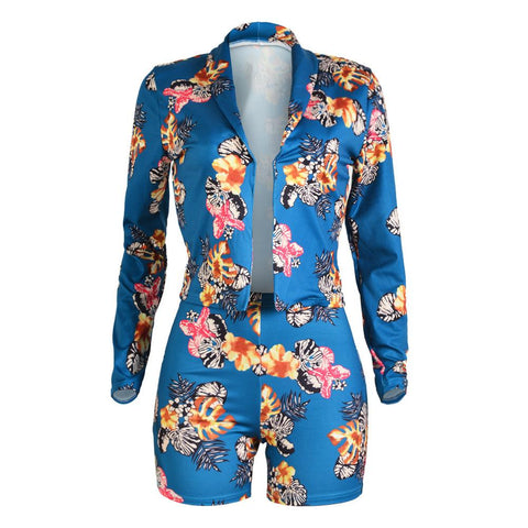 Floral Print Slim Blazer with Skinny Shorts Two Pieces Set
