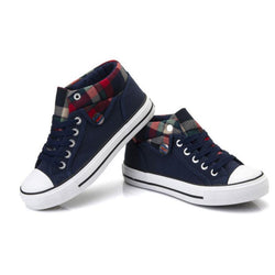 Lapel Leisure Plaid Lace Up Sneakers