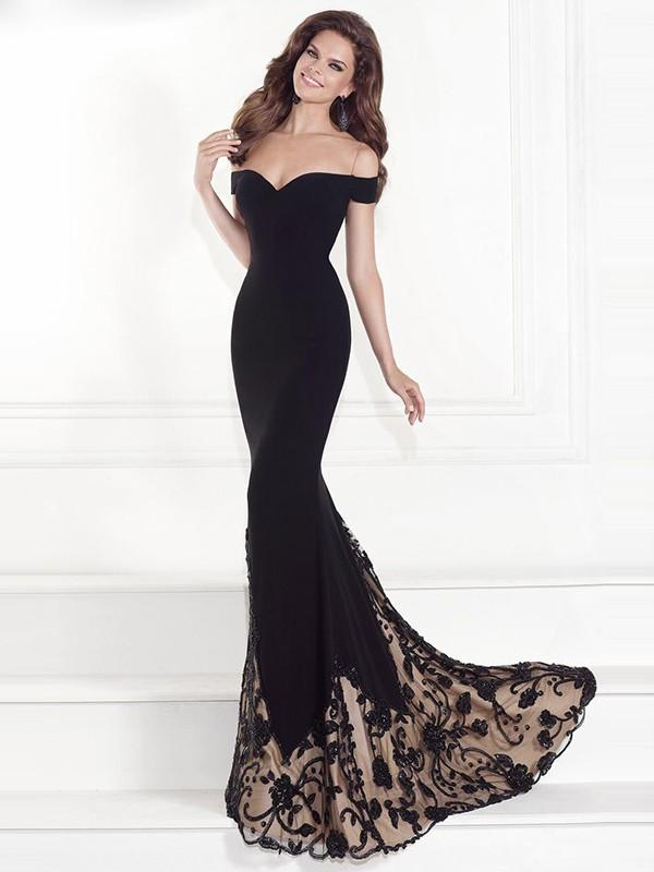 Off Shoulder Lace Patchwork Mermaid Long Floor-length Party Dress