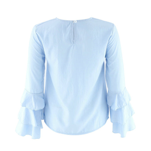 Sweet Long Falbala Sleeve Pure Color Scoop Blouse