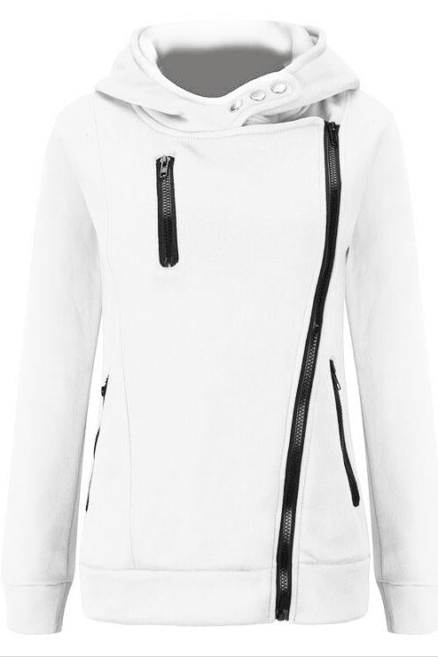 Zippers High Neck Pure Color Slim Hoodie Coat