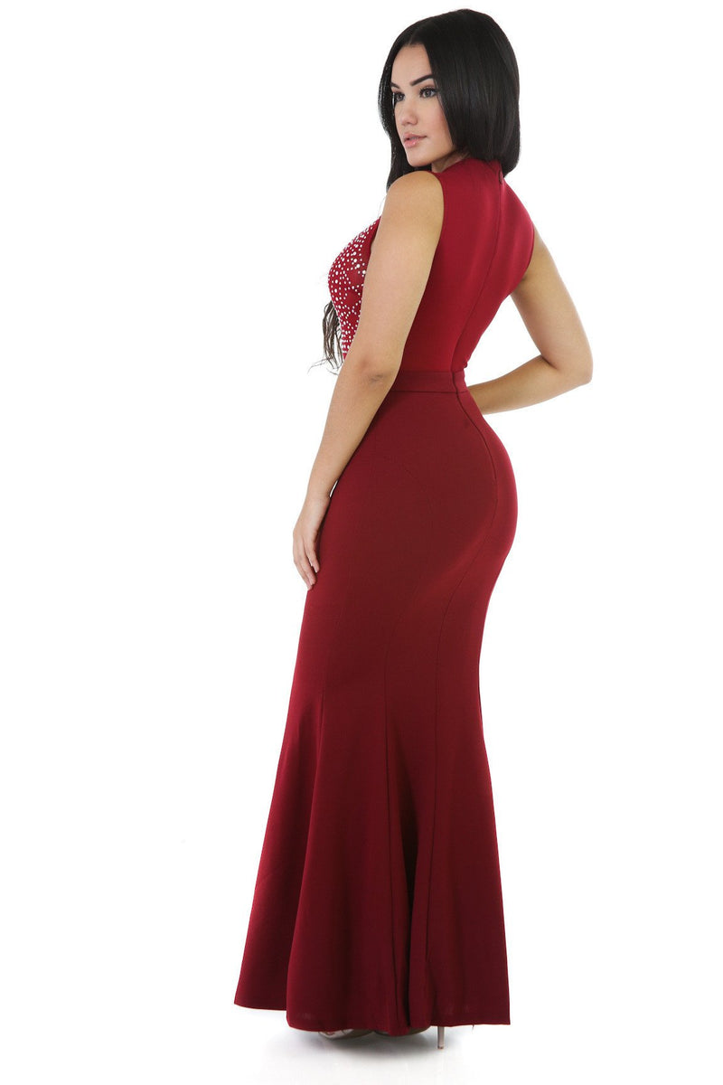 Sexy Crystal Scoop Sleeveless Bodycon Mermaid Long Dress