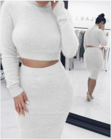 Hot Style Fashion Mohair Sweater Skirt Set