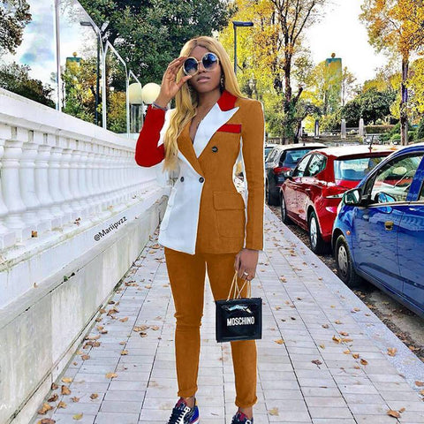 Patchwork Blazer High Waist Skinny Pants Set