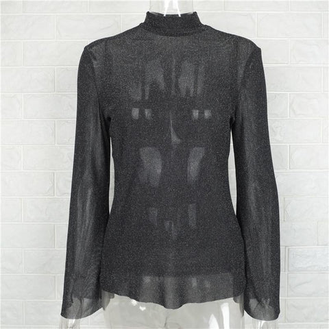 High Neck Trumpet Sleeves Transparent Loose Blouse