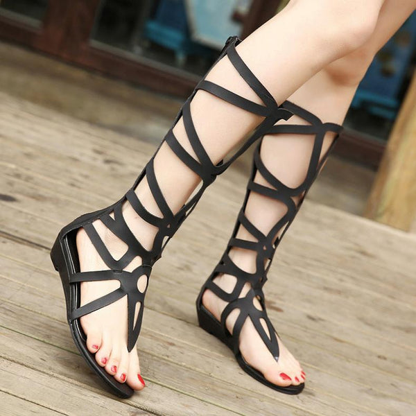 Roman Style Cut Out Straps Split On Long Length Sandals