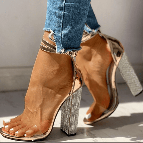 Summer Rhinestone Buckle High Chunky Heel Sandals