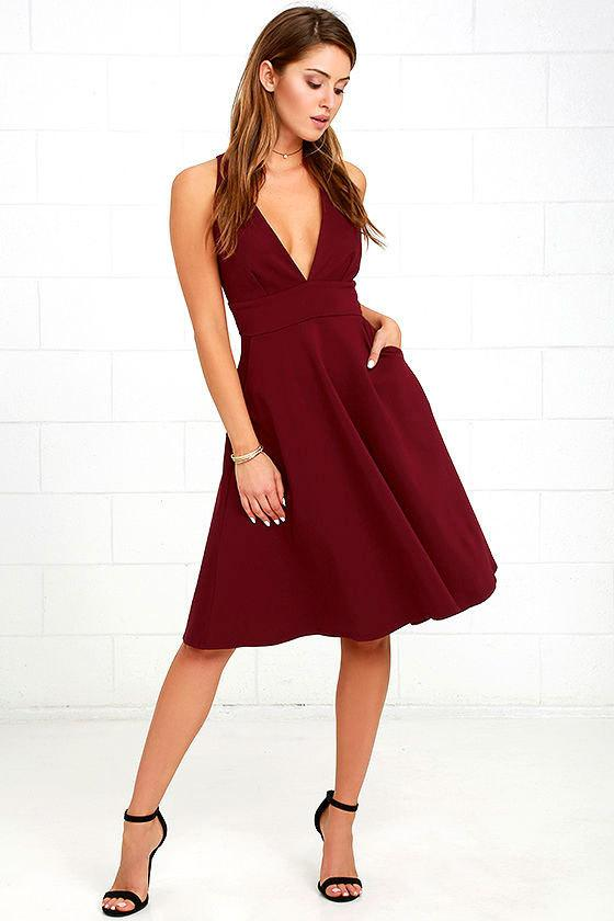 V-neck Sleeveless Knee-length Pockets Dress