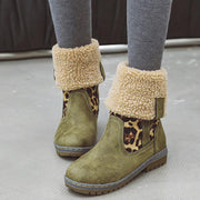 Leopard Print Chunky Low Heel Suede Calf Boots