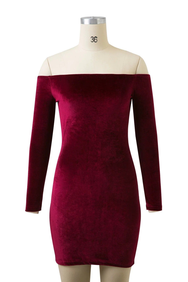 Off Shoulder Long Sleeve Velvet Bodycon Short Dress
