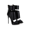 Black Leather Cutout Peep Toe High Heel Sandals