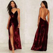 V-neck Sleeveless Solid Backless Split Party Long Dress