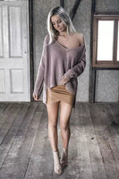 Sexy V-Neck Loose BF Irregular Sweater