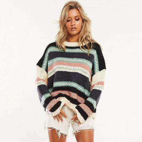 Long Sleeve Striped Colorblock Knit Sweater