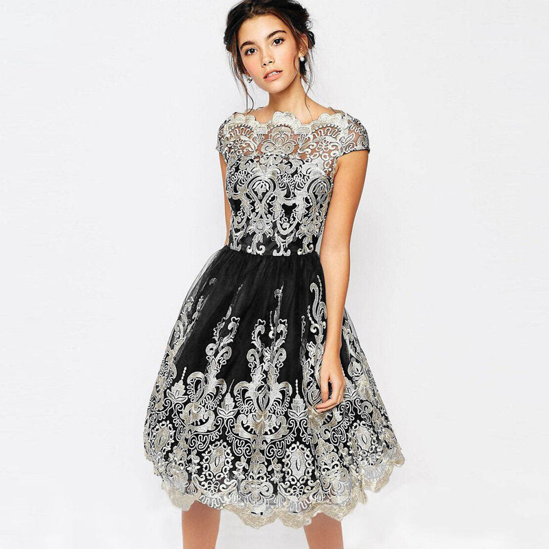 Short Sleeves Retro Embroidery Knee-length Lace Party Dress
