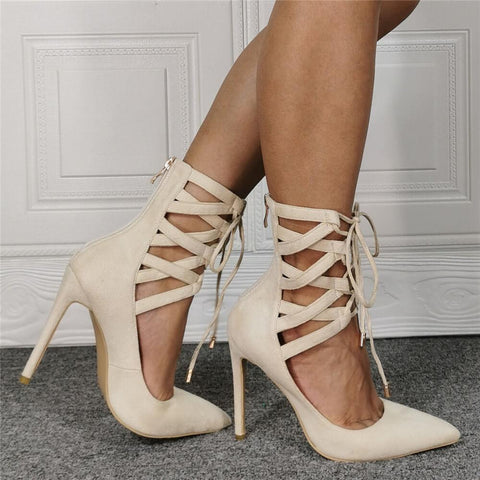 Sexy Suede Point Toe Ankle Strap High Heel Sandals