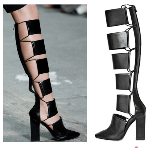 Knee High Cutout Chunky Heel Sandal Boots