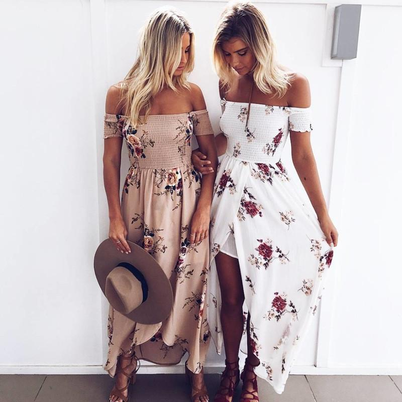 Off Shoulder Short Sleeves Low High Split Flower Print Long Beach Dress