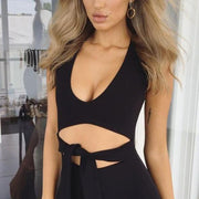 Skinny Sleeveless Scoop Neck Cut Out Knee-length Dress