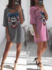 Skull Print Pin Hollow Out Short Loose Dress