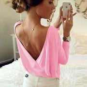 Candy Color Open Backless Long Sleeves T-shirt
