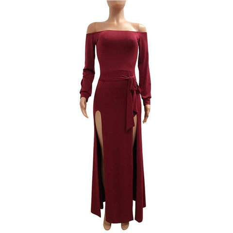 Long Sleeves Off Shoulder Pure Color Long Split Dress