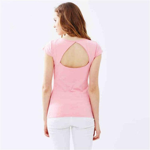 Pure Color Hollow Out Backless  Short Sleeves T-shirt