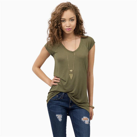 Pure Color Show Thin V-neck Short Sleeves T-shirt