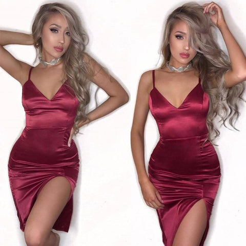Deep V-neck Spaghetti Straps Split Short Bodycon Dress