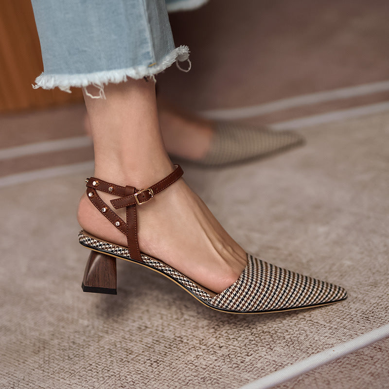 Brown Plaid Pointed Toe Chunky Heel Sandals
