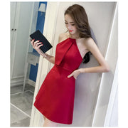 Bear Shoulder Halter Backless Solid Color Short Dress