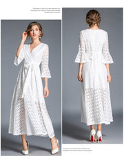 V-neck High Waist Half Trumpet Sleeves A-line Long Lace Party Dress