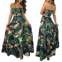 Floral Print Strapless Crop Top with High-waisted Long Skirt Two Pieces Dress Set