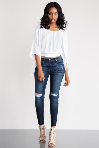 Backless White Cross Scoop Long Sleeves Sexy Blouse