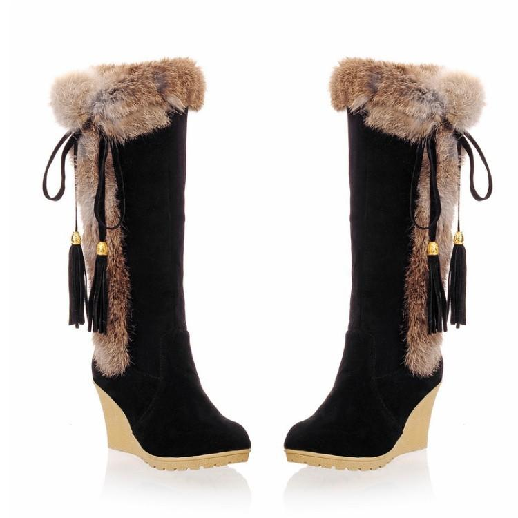 Autumn And Winter Frosted  Thicken Fur Snow Boots