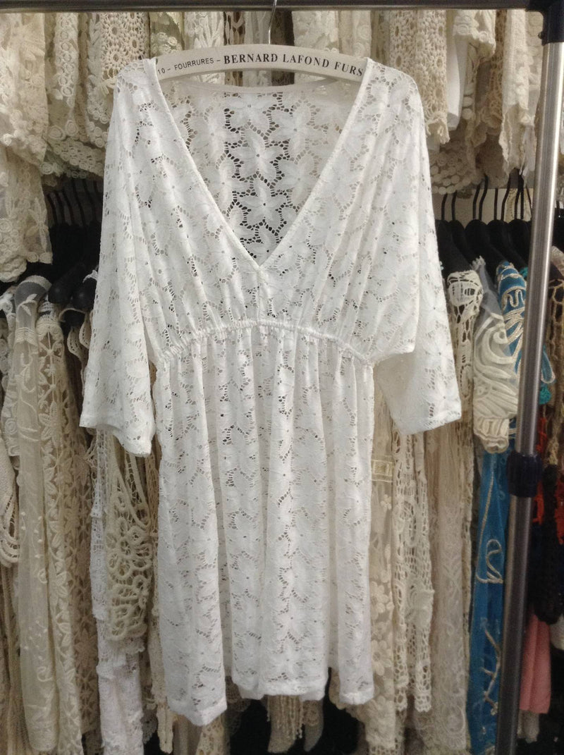 Lace Floral Short Sleeve Short Cover Up Dress