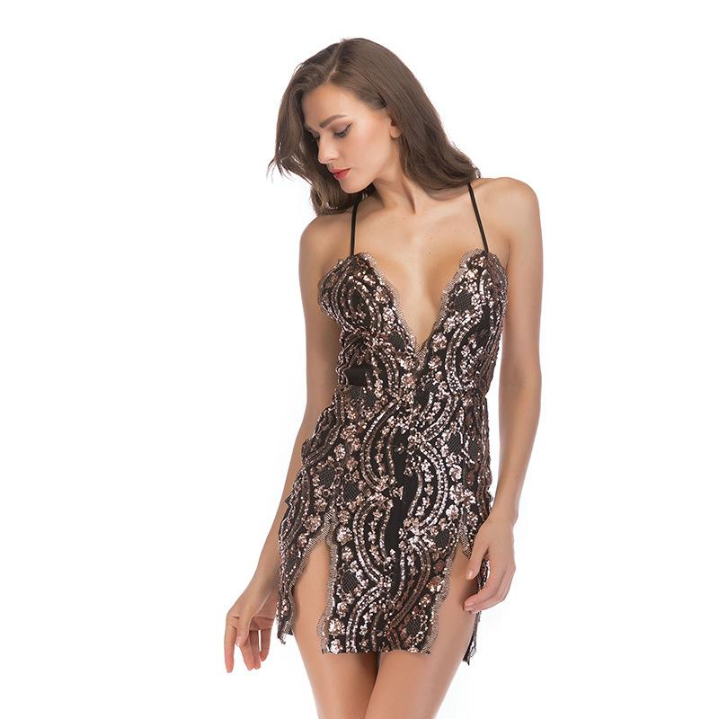Sequin Suspender Short Skirt Deep V-neck Sexy Party Dress