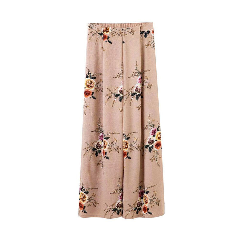 Flower Print Split High Waist Split Wide-Leg Loose Beach Pants
