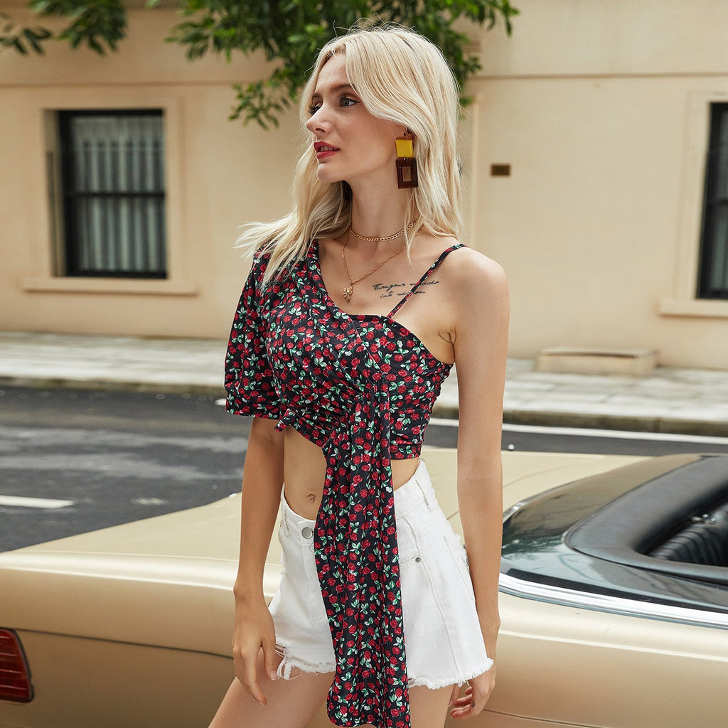 Slant shoulder Floral Casual Top