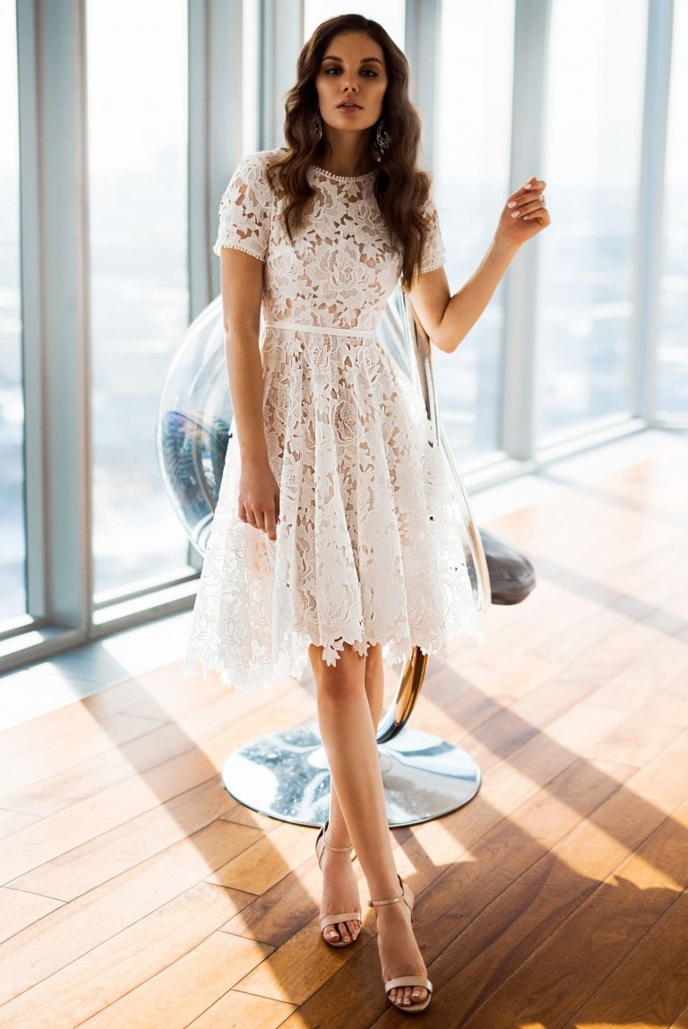 Round Neck Short Sleeve Slim Irregular Dress