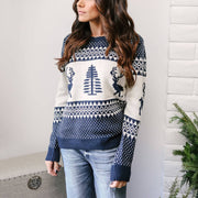 Jacquard Knit Christmas Reindeer Sweater
