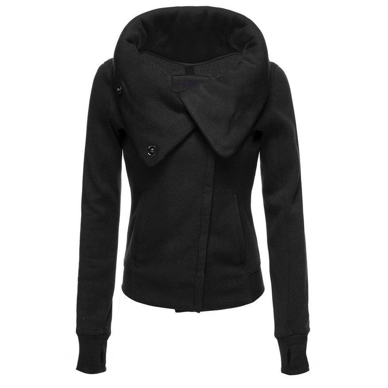 Lapel High Neck Zipper Pure Color Slim Short Coat