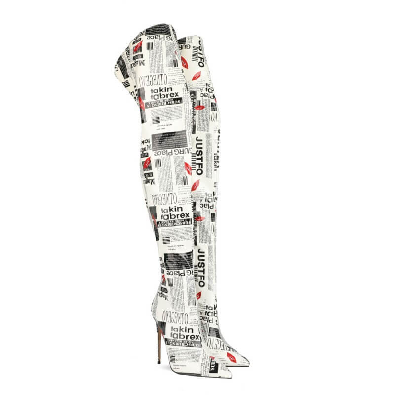White Letter Print Pointed Toe High Heel Over Knee Boots