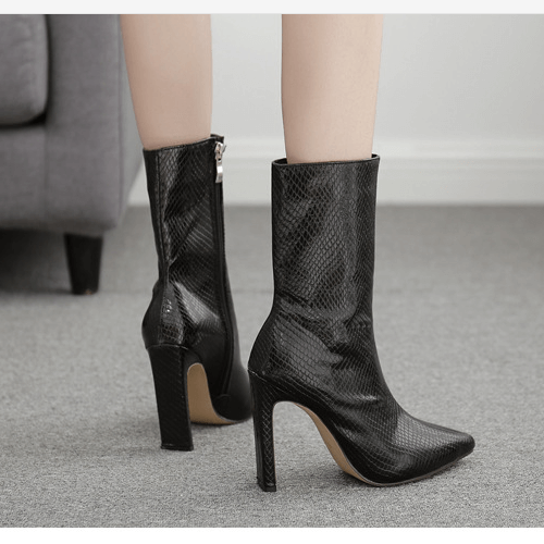 Leather High Heel Boots Pointed Toe Calf Boots
