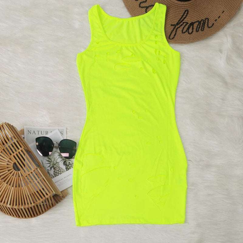 Sleeveless Cut Out Slinky Short Dress