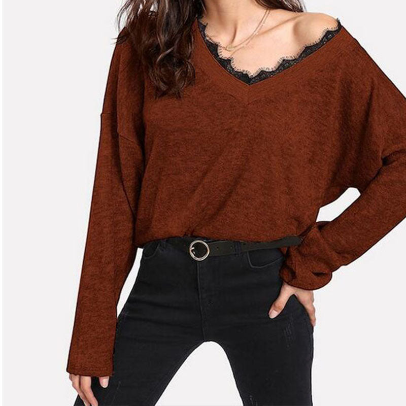 Lace Splice Thin Sweater