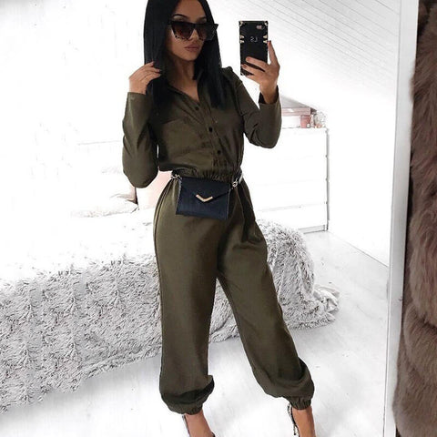 Long Sleeves Bodycon Loose Elastic Ankle Jumpsuits